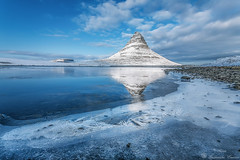Winter Blue. (Geinis) Tags: blue winter sky cloud mountain snow cold ice nature weather clouds canon iceland europe northern kirkjufell sland snjr bl fjall kuldi winterscapes klaki