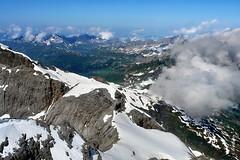 Titlis (welenna) Tags: blue schnee summer sky mountain lake snow mountains alps landscape switzerland see nebel view swiss natur wolken berge views alpen berneroberland titlis trbsee schwitzerland titlisundtrbsee