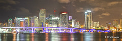 Miami Skyline HDR (pandt) Tags: city bridge sky reflection water skyline architecture night clouds canon eos lights flickr cityscape florida miami outdoor 7d dslr watsonisland macarthurcauseway