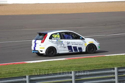 Myles Baker in the BRSCC Fiesta Championship at Silverstone, April 2016