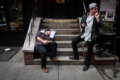 DSCF3668 (john fullard) Tags: city nyc urban newyork color colour march manhattan candid washingtonsquarepark pillow stoop greenwichvillage 2016 fujixpro1