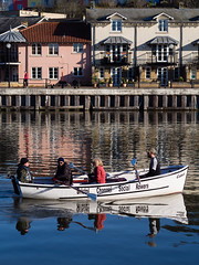 Friendly Rowers (wi-fli) Tags: morning england reflection water bristol boat early unitedkingdom harbour social friendly harbourside rowers