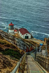 Point Reyes Light House (MustangRosie) Tags: ocean light house point coast rocks pacific steps hdr reyes