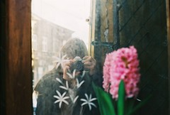 (juliasmolnik) Tags: camera old flower film me girl analog canon vintage photography mirror ae1 sightseeing poland krakow dreaming fujifilm analogue traveling cracow dreamer wandering wanderer filmphotography
