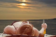 Carona (swong95765) Tags: ocean sea woman beer female snooze booze carona