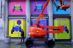 Mechanical (halifaxlight) Tags: street city urban sign norway display pedestrian equipment figure colourful bergen tractors hoist