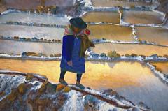 Salinas (Artypixall) Tags: woman peru reflections salinas saltpond getty faa urubambavalley