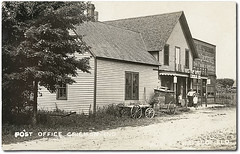 Post Office and Scofield General Store, Crisman, Indiana (Hoosier Recollections) Tags: girls people usa signs man men boys kids fence buildings advertising children mail furniture postoffice hats indiana transportation porch storefronts grocery businesses wagons realphoto crisman