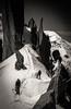 La Cordée des Cosmiques (Frédéric Fossard) Tags: montagne noiretblanc altitude glacier neige paysage chamonix 74 rocher alpinisme hautesavoie granit alpiniste arêtedescosmiques cordée grandgendarme arêtedeneige