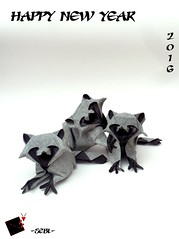happy new year 2016 (-sebl-) Tags: new paper square fur origami sister tissue year racoon 2016 sebl