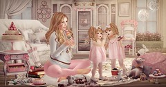 Amelie et les petites: eating for two (Amelie Fravoisse) Tags: pink logo kid dream pregnancy mice maternity secondlife decor ionic epiphany vespertine tuttifrutti macaron gacha badseed halfdeer monso kalopsia cutebytes maxigossamer toddleedoo shinyshabby
