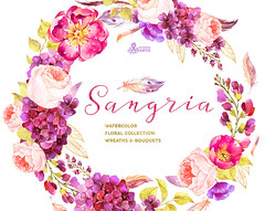 Sangria. Burgundy and gold floral Wreaths and Bouquets, watercolor hand painted clipart, peonies, wedding, greetings, diy, flowers, glitter (octopusartis) Tags: flowers wedding art floral digital watercolor gold golden purple burgundy clip clipart greetings boho peonies bouquets