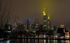 Frankfurt skyline on a rainy night (Zaphod Beeblebrox 1970) Tags: tower rain skyline architecture cityscape nacht frankfurt main haus rainy regen buidling rainclouds commerzbank nachtaufnahme hochhaus