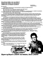 Ninoy Aquino's manifesto for the Lakas ng Bayan (LABAN) campaign for the elections. (Presidential Museum and Library) Tags: martiallaw
