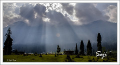 sunrays (sajid sharif) Tags: travel trees pakistan house mountain landscape sunrays tracking azadjamukashmir arankel sajidsharif