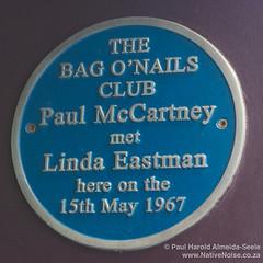 Plaque for the Bag O'Nails Club