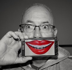 1 of 52 (Sheptonian) Tags: red blackandwhite colour smile project glasses eyes hand phone lips week 52 selective selfie 2016 project52 52weekproject