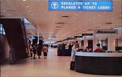 Lobby, Chicago O'Hare Airport, Illinois (SwellMap) Tags: architecture plane vintage advertising design pc airport 60s fifties aviation postcard jet suburbia style kitsch retro nostalgia chrome americana 50s roadside googie populuxe sixties babyboomer consumer coldwar midcentury spaceage jetset jetage atomicage