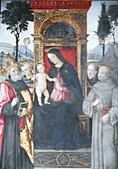"""""""The Virgin Mary and Saints"""" - fresco by Tiberio d'Assisi (Assisi, about 1470-1524) and Antonio da Viterbo (after 1480) - Santa Maria del Popolo Church in Rome (* Karl *) Tags: italy rome virginmary fresco tiberiodassisi antoniodaviterbo"""
