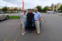 Kathryn with the trail angels from the UK who gave us a ride from Arthur's Pass to Christchurch