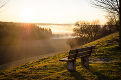Take a rest (MSC_Photography) Tags: sunset sun fog 35mm bench landscape bayern bavaria evening abend nikon warm sonnenuntergang nebel view bokeh bank aussicht nikkor landschaft sonne afs ausblick pol blackfox d5100 118g