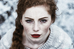 Red (alexandra_bochkareva) Tags: red woman white snow art abandoned girl beauty face weather female angel fire snowflakes ginger sweater waiting bright skin russia bokeh sensual redhead fairy serene snowing freckles wonderland feelings freckled sense girlish bochkareva