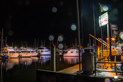 24 Hours (Patrick Gatling) Tags: sea storm reflection water rain night port canon gold lights drive coast boat dock long exposure neon yacht droplet southport