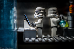 The dark side of the lab. (St_Eric) Tags: lab lego stormtrooper chemicals legostarwars tanks controlpanel bluestuff