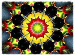 Mandala en forme de fleur Chihuly (Give compassion to yourself) Tags: blue red orange black green colors yellow start jaune rouge kaleidoscope mandala vert forms creations artcreation chihulykaleidoscope