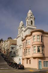 Mason Street 9-16 (Steve Stowell) Tags: sanfrancisco california architecture cities churches hills northbeach urbanlandscape baywindows
