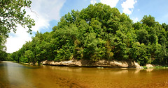 Sugar Creek (7 Shot Pano) (J Swanstrom (In & Out For A While)) Tags: blue sky panorama reflection tree green water stone clouds creek forest river landscape death nikon stream pano indiana shades sugarcreek ripples shadesofdeath d80 jswanstromphotography