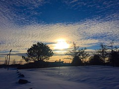 What a beautiful morning!  (rayanmust) Tags: morning blue sky sun snow beautiful yellow clouds wonderful landscape soleil pretty neige lovely  goodmorning