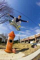 hydrant gap in Manayunk (Derock.) Tags: motion philadelphia outdoors spring saturated skateboarding fisheye skate manayunk boarding