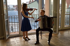 Duet II (Fotopraktic) Tags: city blue boy portrait music black classic girl nikon stair rooms dress faces duet pair teenagers indoor accordion violin solo sound acoustic session charming soundcheck classicalmusic warmingup violonist photoshooting accordionplayer d5300