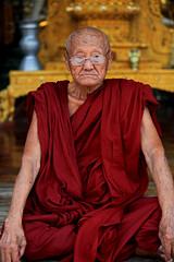 Portrait Of A Venerable Monk 2 (El-Branden Brazil) Tags: temple pagoda southeastasia buddha shwedagon yangon burma stupa religion buddhism holy monks sacred mystical myanmar paya burmese rangoon myanmarese
