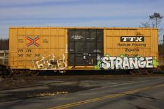 GGG Strange (BombTrains) Tags: road railroad art strange train bench graffiti paint tag graf rail spray graff freight ggg koc fr8 sfb benching
