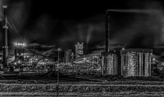 Industry (mcalma68) Tags: longexposure nightphotography industry monochrome blackwhite steam machines hoogovens