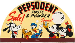 1937 Pepsodent Paste and Powder sign (Tom Simpson) Tags: illustration vintage 1930s sale disney toothpaste mickeymouse pluto minniemouse donaldduck 1937 pepsodent vintagedisney clarabellecow