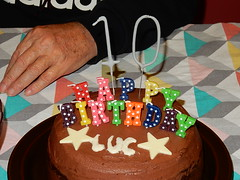 10th Birthday Cake (mikecogh) Tags: birthday cake stars candles 10 luc findon