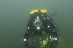 Richard models the yellow box of insidious death (rjknell) Tags: uk scuba diving rebreather vobster
