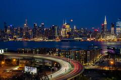 Lincoln Tunnel Helix (Nick Barese) Tags: city longexposure moon newyork night photoshop newjersey lightroom