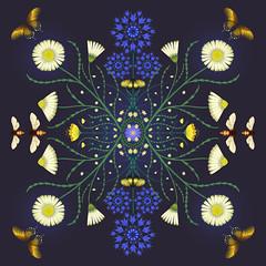 FinalDaisyscarf (Su Owen) Tags: daisies purple bees butterflies silkscarf cornflowers textiledesign botanicalart naturalforms surfacepattern