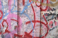 Cracks (pburka) Tags: nyc pink abandoned closeup graffiti paint spraypaint statenisland cracking farmcolony sifc nycfc untappedcities