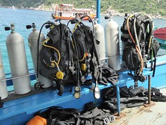 Koh Tao (Scuba Diving), Thailand (Jan-2016) 12-006 (MistyTree Adventures) Tags: water thailand boat asia seasia outdoor scubadiving kohtao bcd gulfofthailand oxygentanks southernthailand panasoniclumix