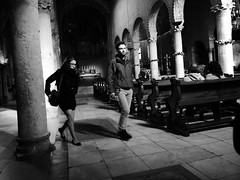 A couple in a church in Trieste in black & white (un2112) Tags: people urban blackandwhite bw italy woman man church monochrome temple couple april humans trieste panasonicg7