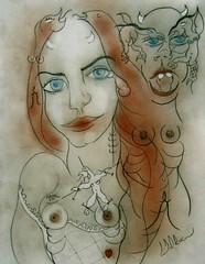 RÉALITÉ DIFFÉRENTE (Claude Bolduc) Tags: outsiderart drawing surrealism lowbrow visionaryart sexyart artsingulier sensualart intuitiveart
