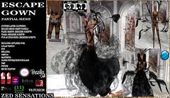 Zed Sensations*.Escape Gown (Zed Sensations) Tags: new xmas eve black fashion silver fur venus slim dress lace year feathers formal silk dancer valentine belly tango cocktail gloves fantasy micro egyptian latest arabian gown sensations isis eleven couture petite freya belleza zed physique hourglass tmp lolas silks aute maitreya slink pulpy applier evemesh