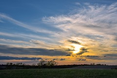 Blocked Sunset (thefisch1) Tags: sunset sky cloud sun grass interesting nikon calendar horizon pasture kansas prairie nikkor interference linear cirrus oogle