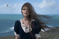 The End (LornaKatyJoy) Tags: ocean blue sea portrait girl birds clouds hair 50mm dress wind windy landsend d610 lornakatyjoy lornaquinn