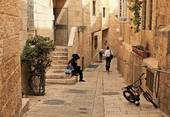 Happy Passover..!   Street at Jewish Quarter of Jerusalem (Esther Spektor - Thanks for 10+ millions views..) Tags: street door boy people plant man building window bike stone wall canon tile israel spring stair pavement jerusalem passover jewishquarter estherspektor